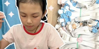 Cô bé 9 tuổi thức đêm may 500 chiếc 'tai giả' gửi tới y bác sĩ tuyến đầu ở Bắc Giang